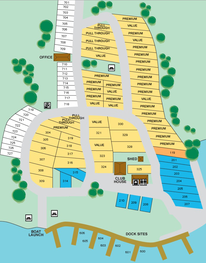 Hickory Point RV Park Site Map 2017